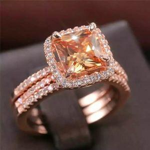 3pc Cushion Morganite Halo Rose Gold Ring Trio Se
